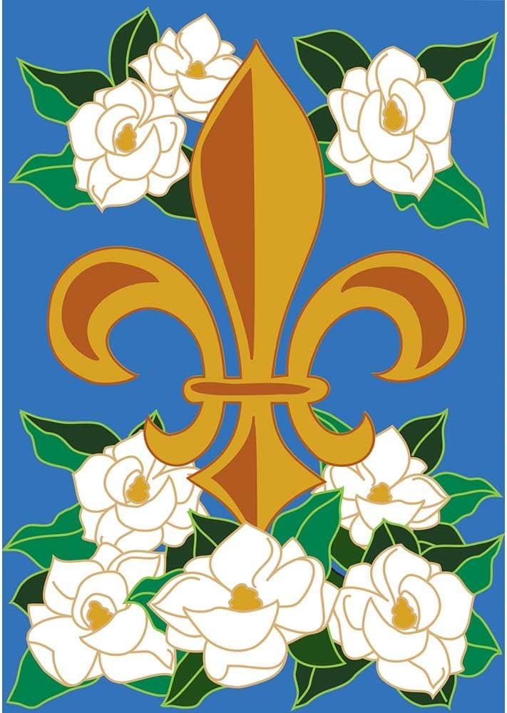 Magnolia Fleur de Lis on Blue Sky 18 x 13 Rectangular Double Applique Small Garden Flag