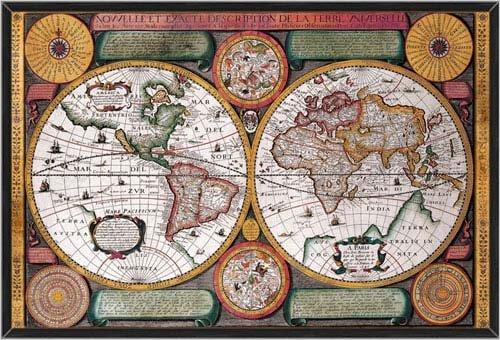 A New And Exact Description Of The World Universal Map  Nouvelle Et Exacte Description De La Terre Universelle  37 5X25 5 Ready To Hang Black Wood Framed Art Print Petro Plancio