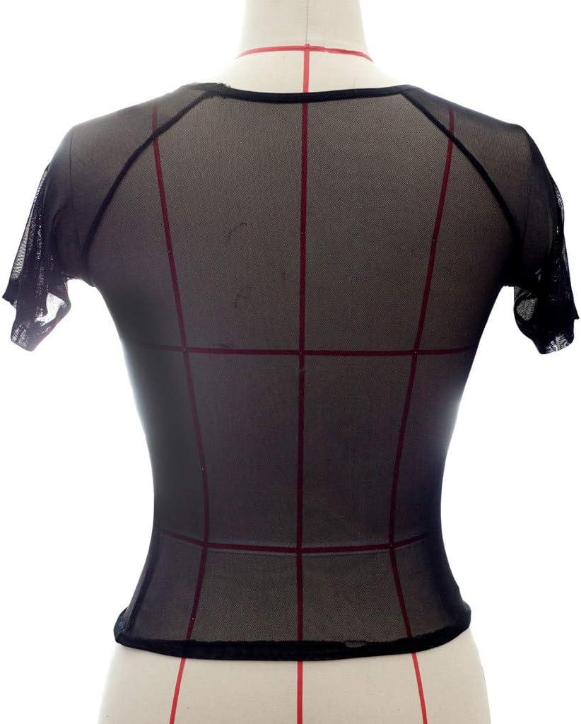 SatinGold Damen Kurz Oberteil Bauchfrei Crop Top Hemd Tank Tops Vest Kurzarm Shirt Mesh Halb-Transparent 5XL, Schwarz +Wei?