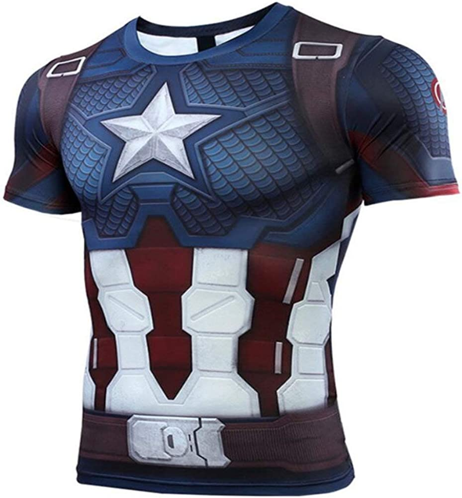 Short Sleeve Compression Top Captain America T Shirt for Workouts