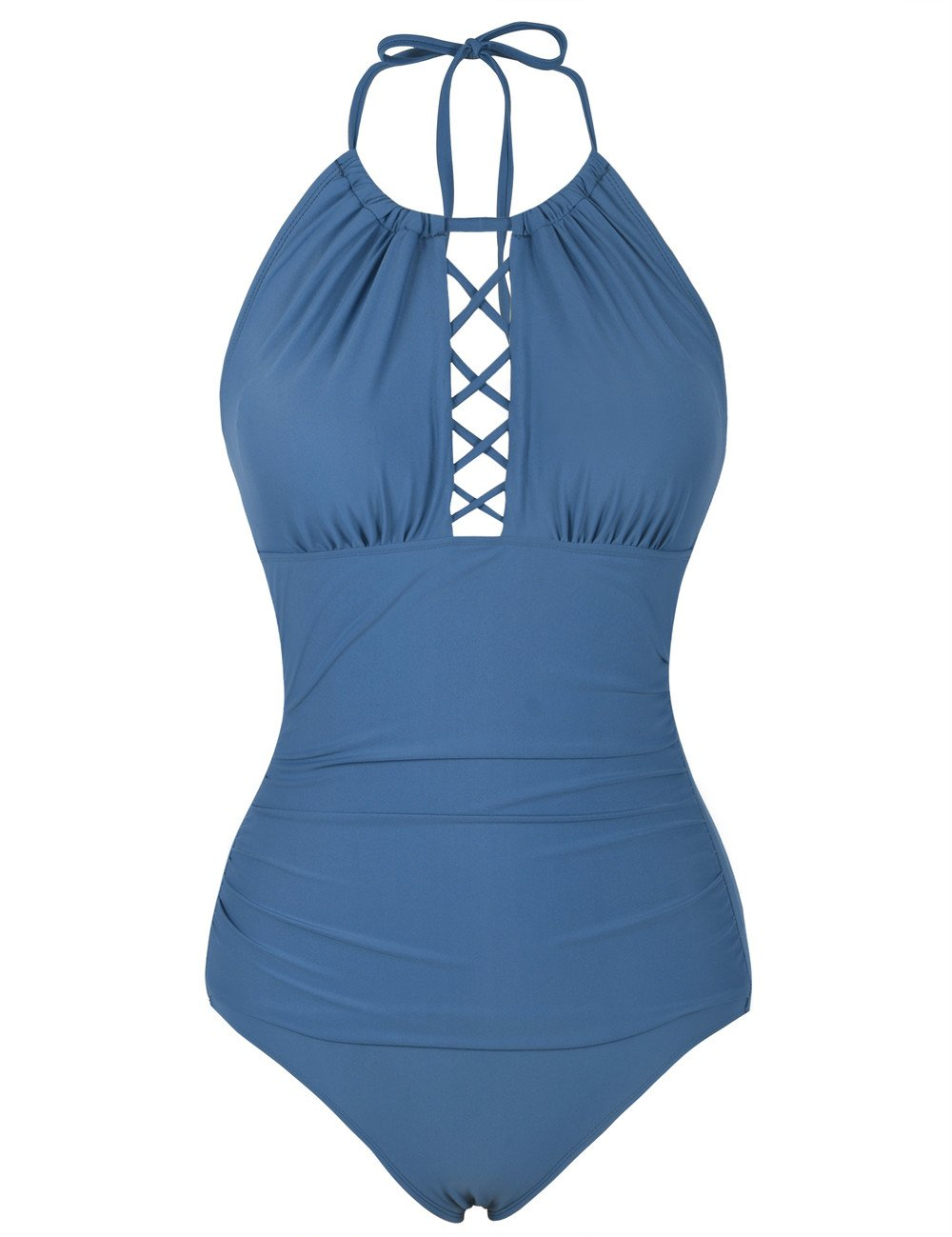 e5dd36d6131 Firpearl Women's Halter One Piece Swimsuits High Neck Cutout Ruched  Swimwears product image