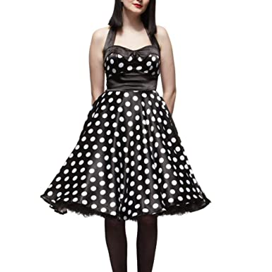 HELL BUNNY Black Polka Dot 50s Prom Dress