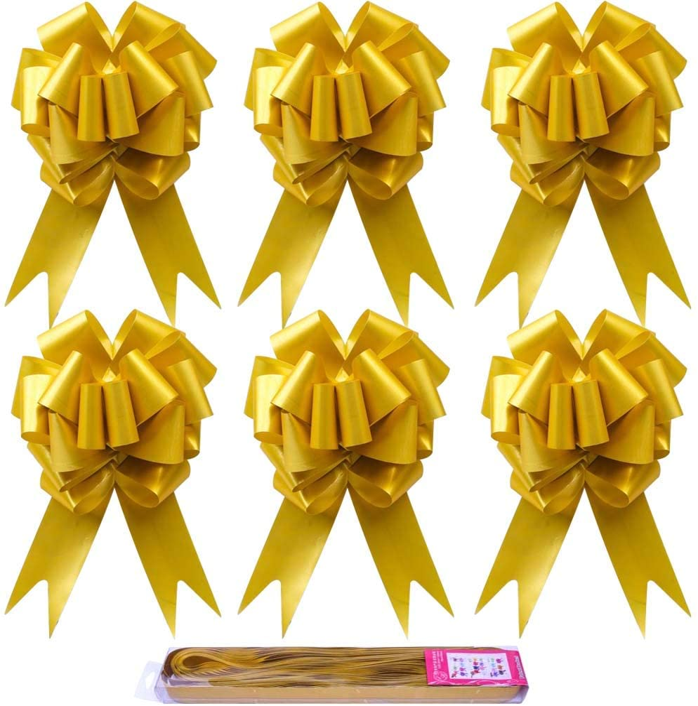Paquete de 30 lazos dorados grandes para decoración de Navidad, ideales para regalo, ramos de flores, canastas, bodas, homenajes florales, fiestas de Navidad, decoración de pared