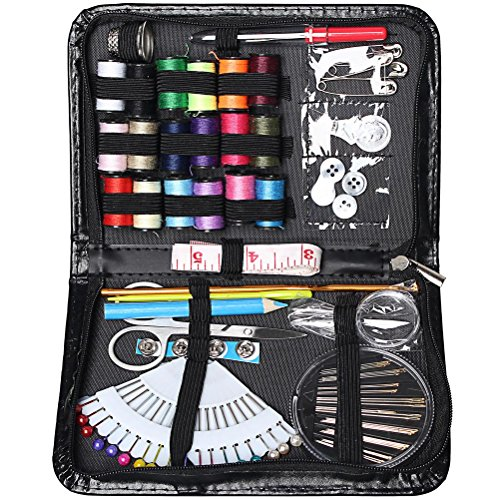 For Sale! Pengxiaomei Sewing Kit, 87 pcs Premium Sewing Spools Needles with PU Box Household Sewing ...