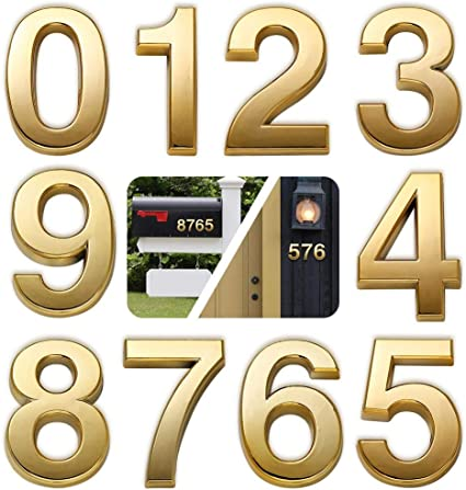 3D Self-Adhesive Mailbox Numbers Door Address Numbers for Apartment Room Waterproof Hotel Shiny Antique Brass Numbers 0 Two Pieces House Numbers