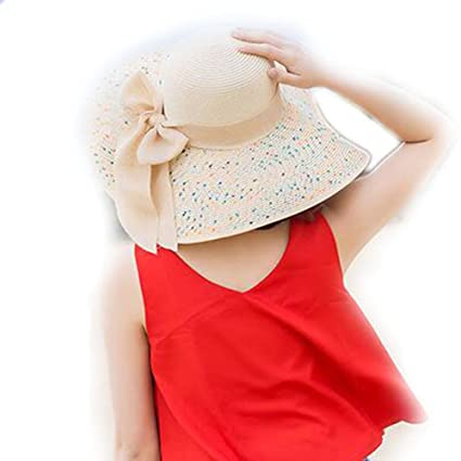 d1cc1fb4 LOVEHATS Summer Women's Beach Hats Caps Foldable Chiffon Floppy Sun Hats  Ladies Sombreros Bowknot Hat Beige