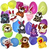 Joyin Toy 12 Pack Prefilled Easter Eggs of Mini Stuffed Animal Plush Toys Easter Baster Stuffer for Kids Easter Egg Hunt Filler Stuffer