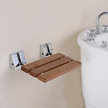 HANEBATH Teak Folding Shower Seat - Natural - - Amazon.com