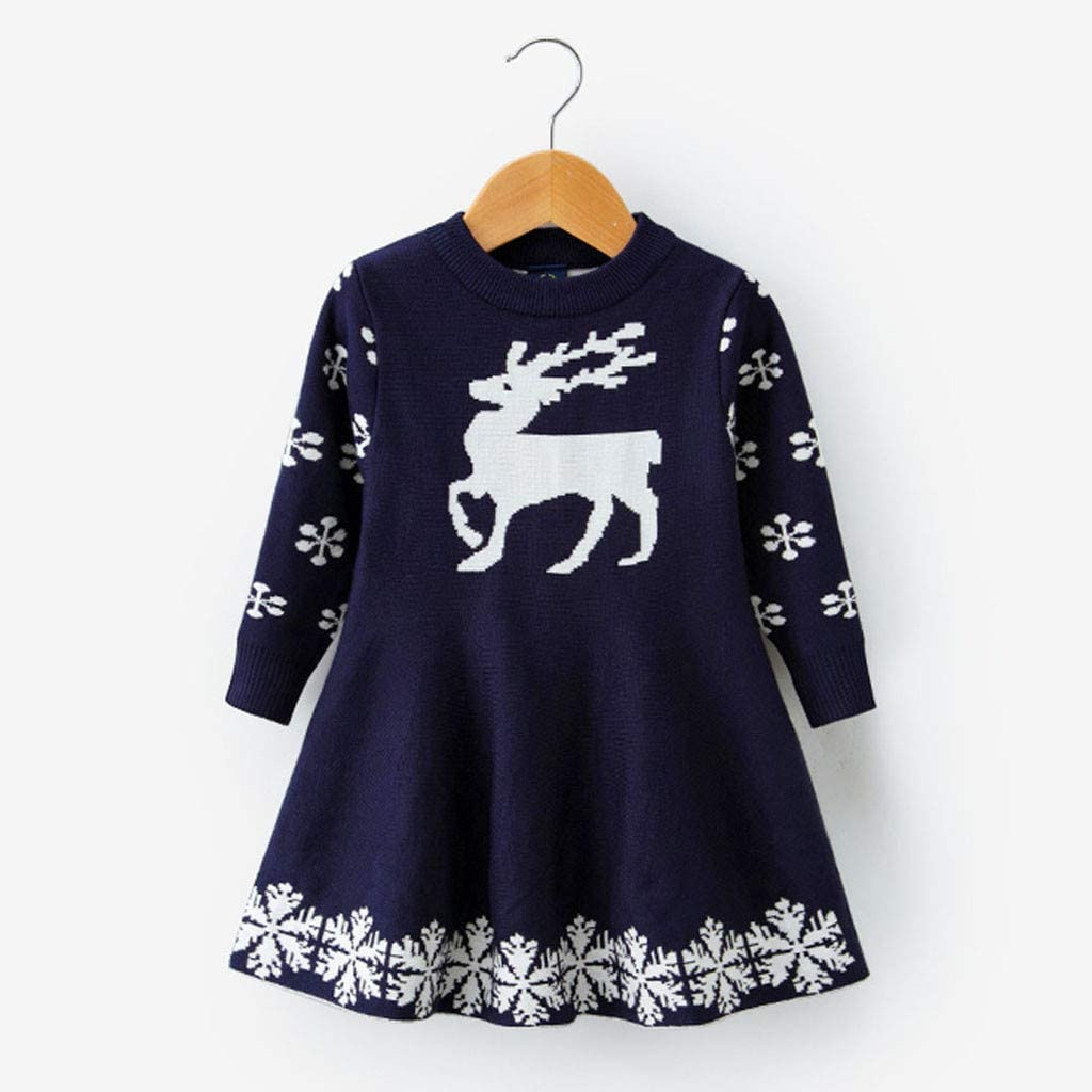Beyonds Kid Baby Girls Christmas Dress Deer Snowflake Winter Knit Sweater Dresses Romper Jumpsuit Costume Dress for Christmas Holiday Birthday Autumn Winter