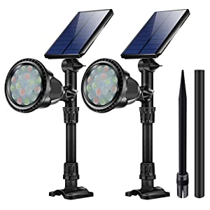 KASUN RGB Outdoor Solar Path Lights, JSOT 18 LED Spotlight Waterproof Landscape Lights Solar Security Lamps for Flag Tree Garage Deck Garden Wall Backyard