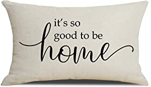 PSDWETS Farmhouse Throw Pillow Covers with It's So Good to Be Home Quotes Cotton Linen Pillow Covers 12 x 20 Inches for Rustic Modern Farmhouse Decor