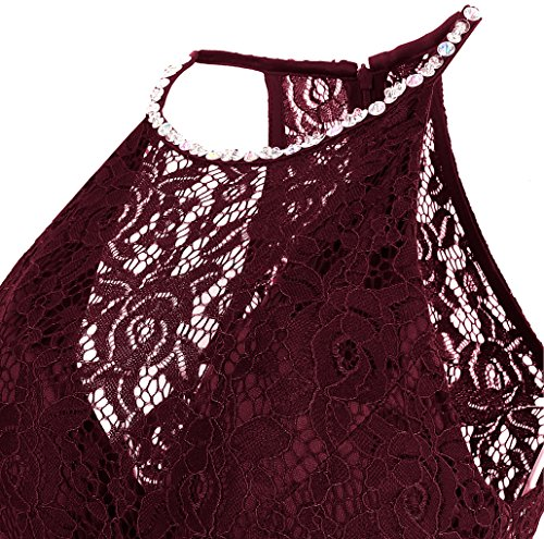 Ange-mode Perles Satin Dentelle Licol Floral Courte Robes De Cocktail Bal Vin Rouge