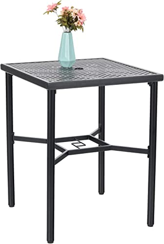 Patio Bar Table 36″ Height Square Bistro Dining Table Metal