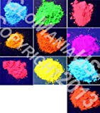 10 Color Set Mini Sampler Neon Pigment Powder, Black Light UV Reactive, Fluorescent