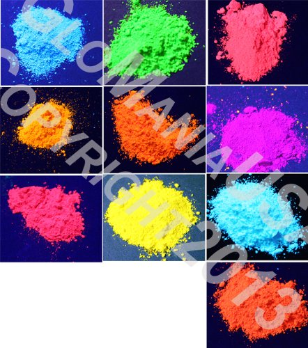Use Loose Powder (GloMania 10 Color Set Mini Sampler Neon Pigment Powder, Black Light UV Reactive, Fluorescent)