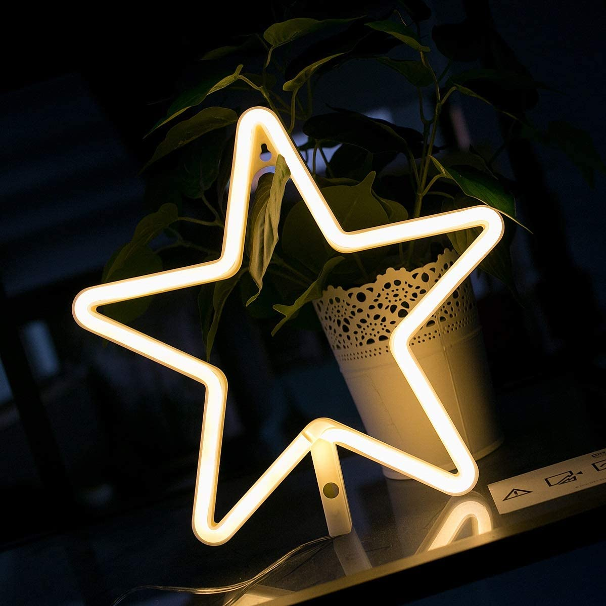 Star Neon Signs LED Neon Light Sign Battery or USB Operated for Christmas,Birthday Party, Living Room, Girls,Kids Room(Star)
