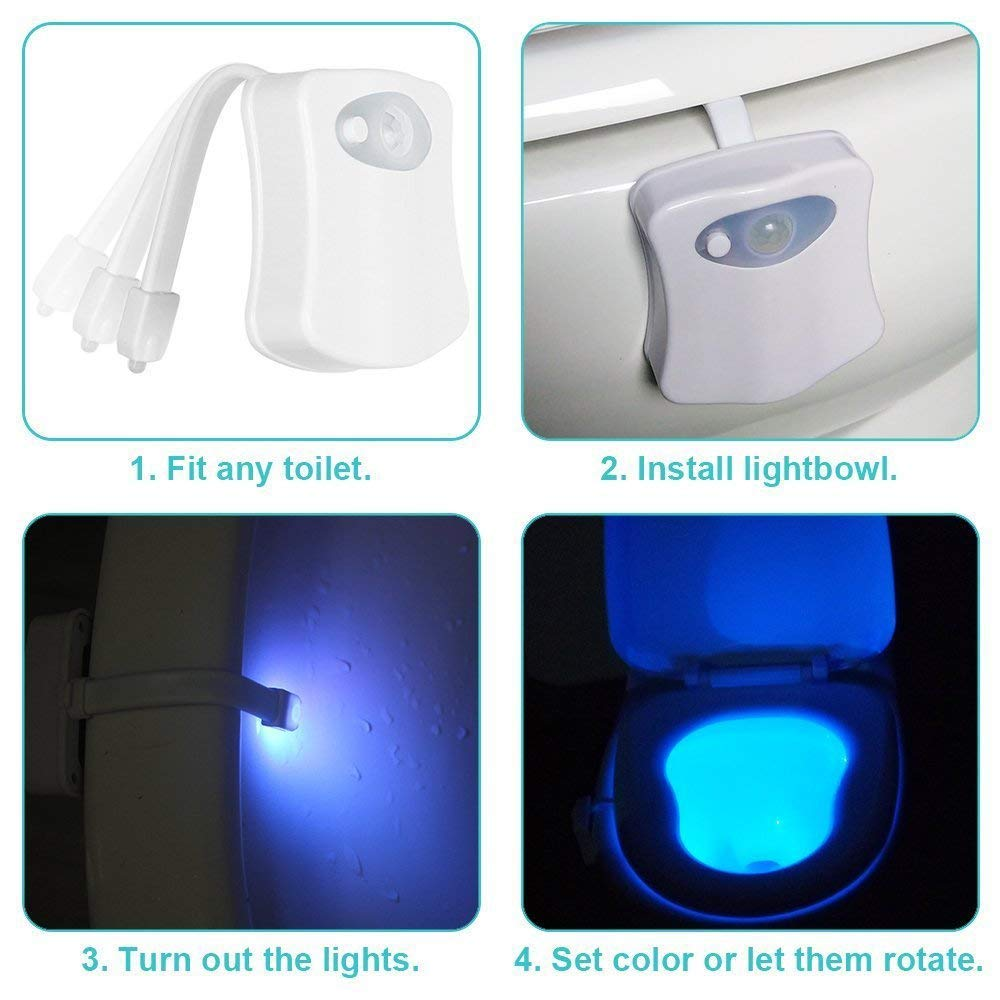 LED Bowl Light with 8 Color Changing Toilet Night Light Audio Technology of New York Inc Toilet Bowl Light Toilet Light Motion Activated Toilet Night Light