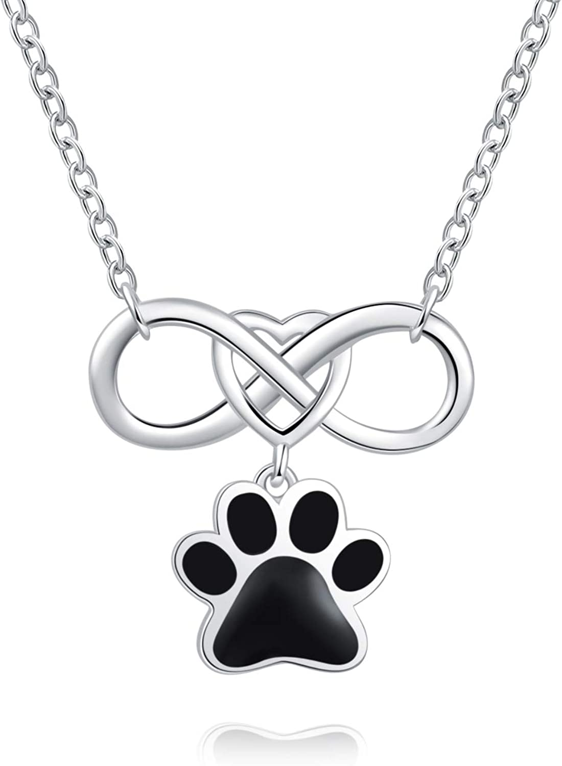 Always in My Heart Paw Print Memorial Keepsake Necklace Urn Jewelry for Your Best Pal 925 Sterling Silver Pet Cremation Pendant for Cat Ashes
