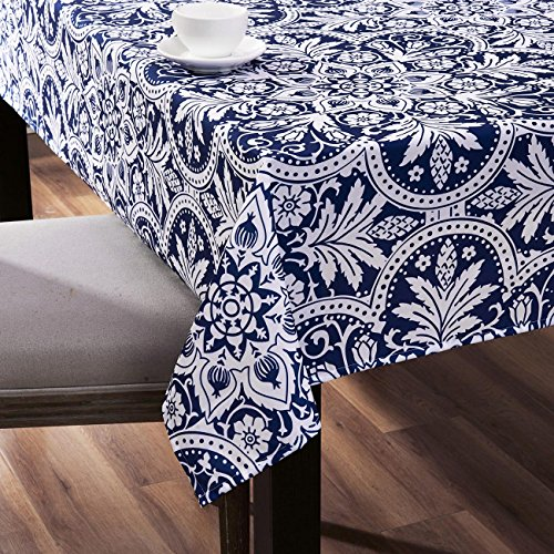 KindoBest Deep Blue Tablecloth Rectangular Oxford Plastic Vintage Floral Pattern Washable for Dinner/Picnic/Home Decoration Assorted Size (55×95 inch) - Picnic Table Patterns