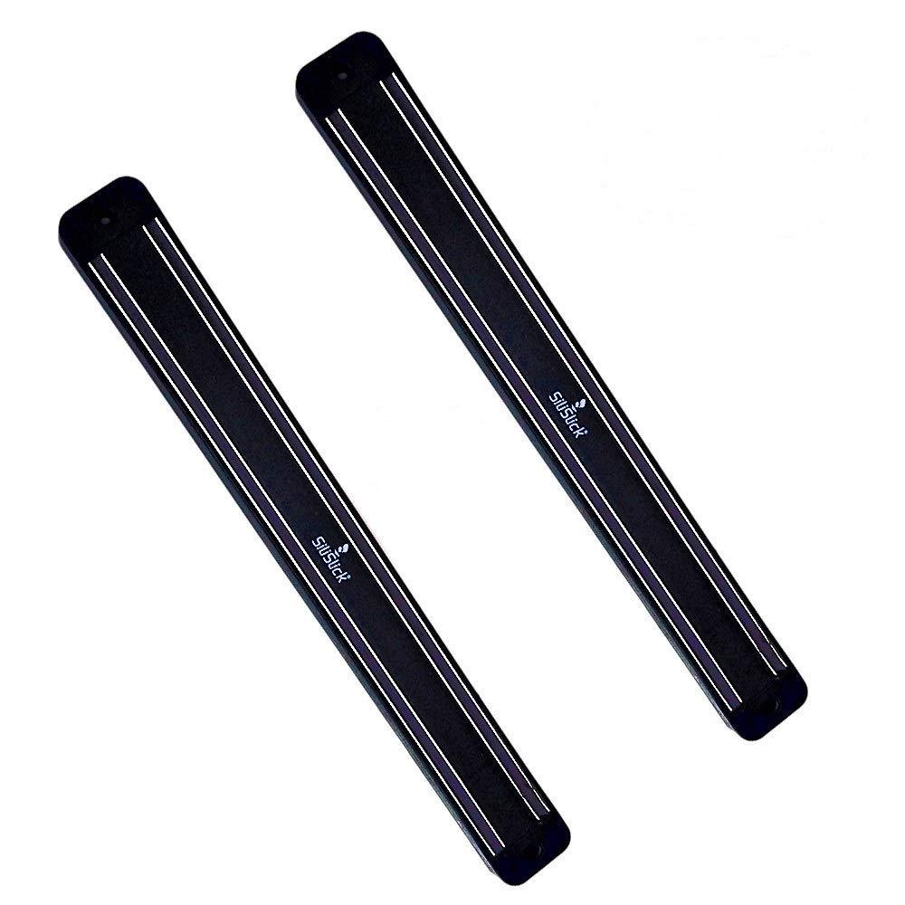 SiliSlick Magnetic Knife Rack Wall Strip | Magnet Tool Holder | Magnetic Bar for Kitchen, Garage, Bathroom, Art Supplies or Home Organizer (2 Black) by SiliSlick
