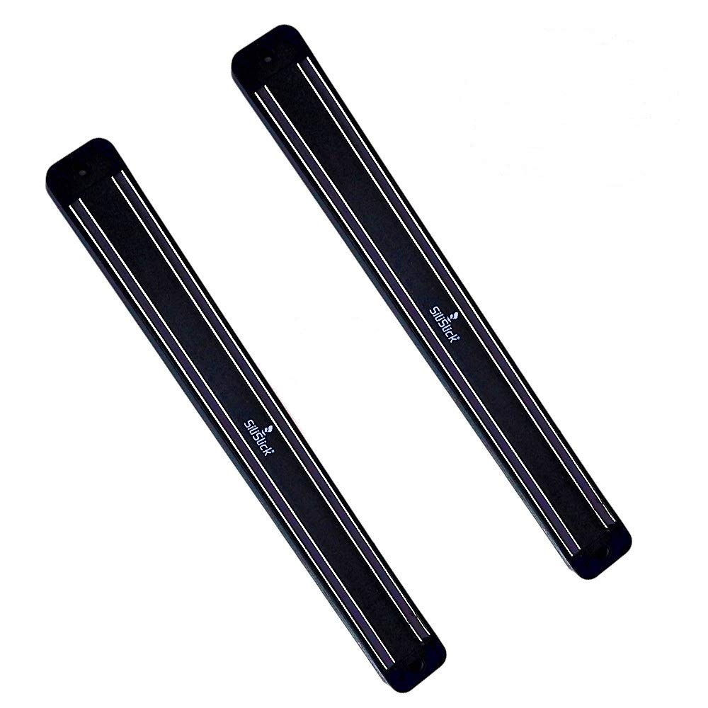 SiliSlick Magnetic Knife Rack, Space-saving Innovation. 2 Strong Magnet Bars That Will Support up to 17 Lbs. (2, Black)
