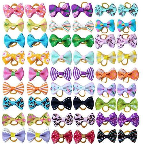 (PET SHOW Pet Dog Hair Bows Bowknot for Yorkshire Girls Topknot with Rubber Bands Cat Puppy Headdress Grooming Hair Accessories Random color Pack of 50pcs = 25pairs)