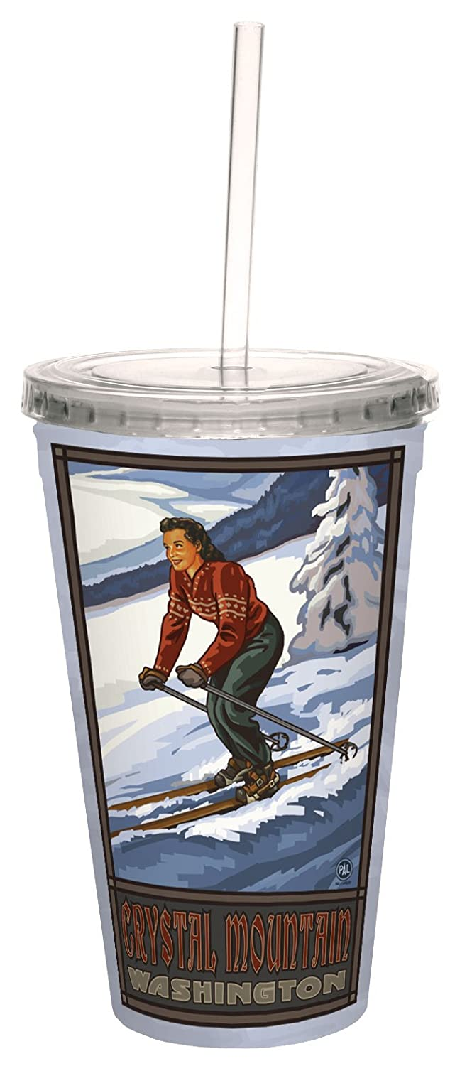 TreeFree Greetings 80361 Crystal Mountain Skier by Paul A. Lanquist Artful Traveler Double-Walled Cool Cup with Straw, 16-Ounce, Multicolored