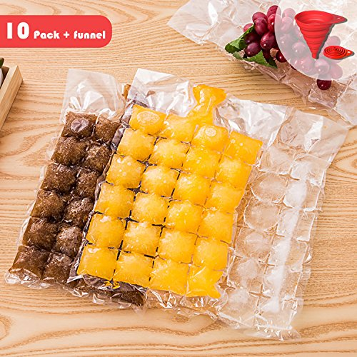 Yii Design Disposable Ice Cube Bag, Food-grade PE Materials, Stackable, Compact, Easy to use for Household, Party, Office, Bar (10-pack/100-pcs/2400-cube) Gift: Silicone Collapsible Funnel