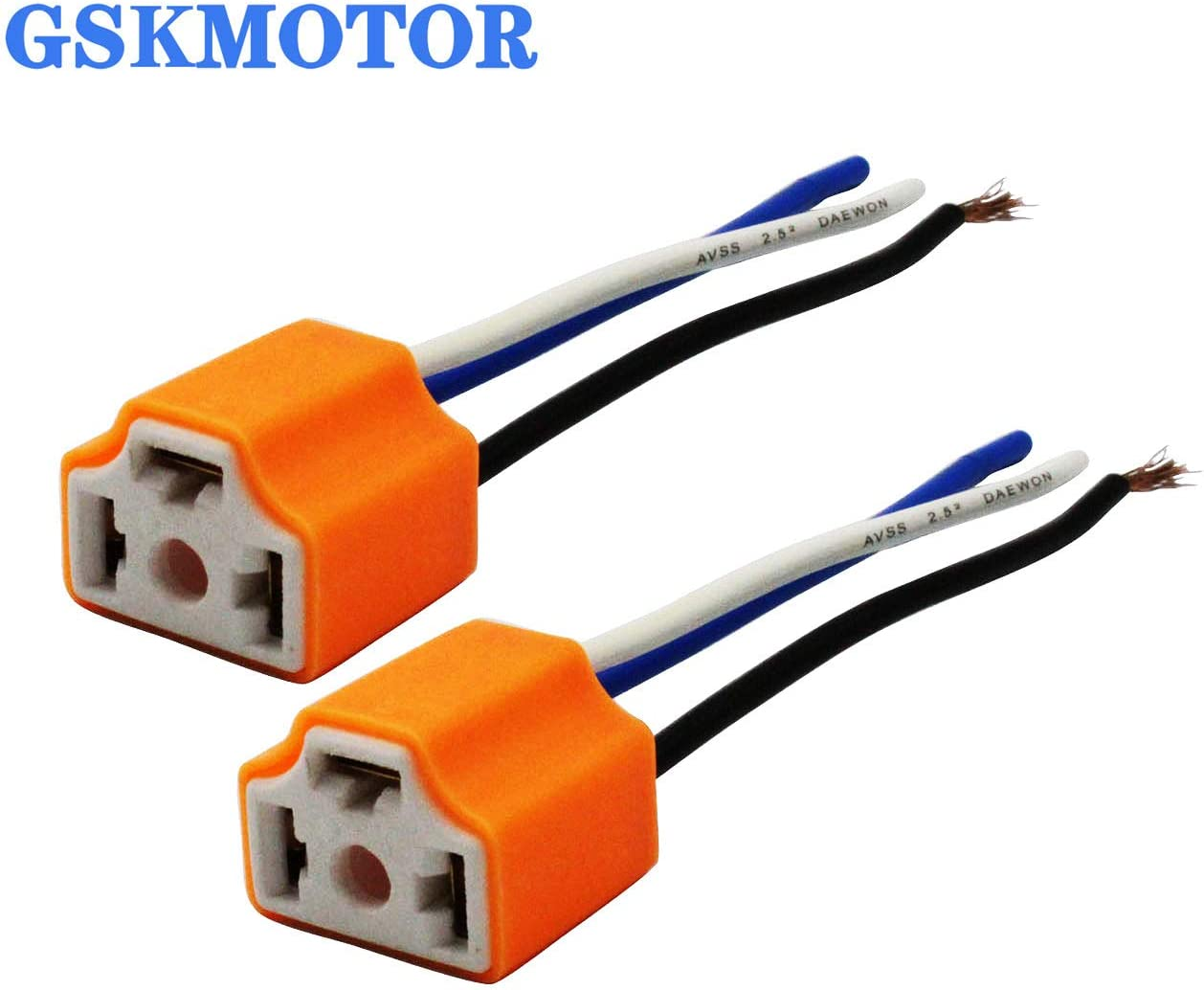 GSKMOTOR H4//9003//HB2 Ceramic Plug Adapter Socket Super Durable 2 PCS Female Pigtail Headlight Connector H4 Ceramic Sockets Headlight Adapter