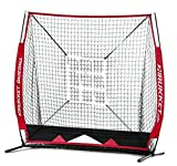 Rukket 5x5 Baseball / Softball Net | Practice Hitting, Pitching, Batting and Catching | Backstop Screen Equipment Training Aids | Includes Strike Zone Target and Carry Bag