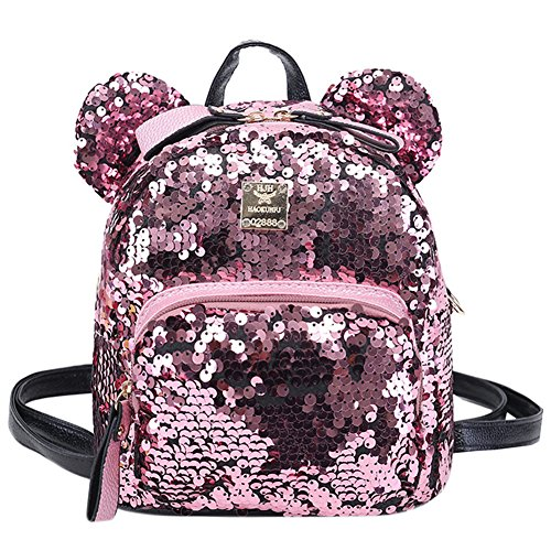 Bags us Women Girls Dazzling Sequins Backpack with Cute Ears Schoolbag Shoulder Bag Satchel