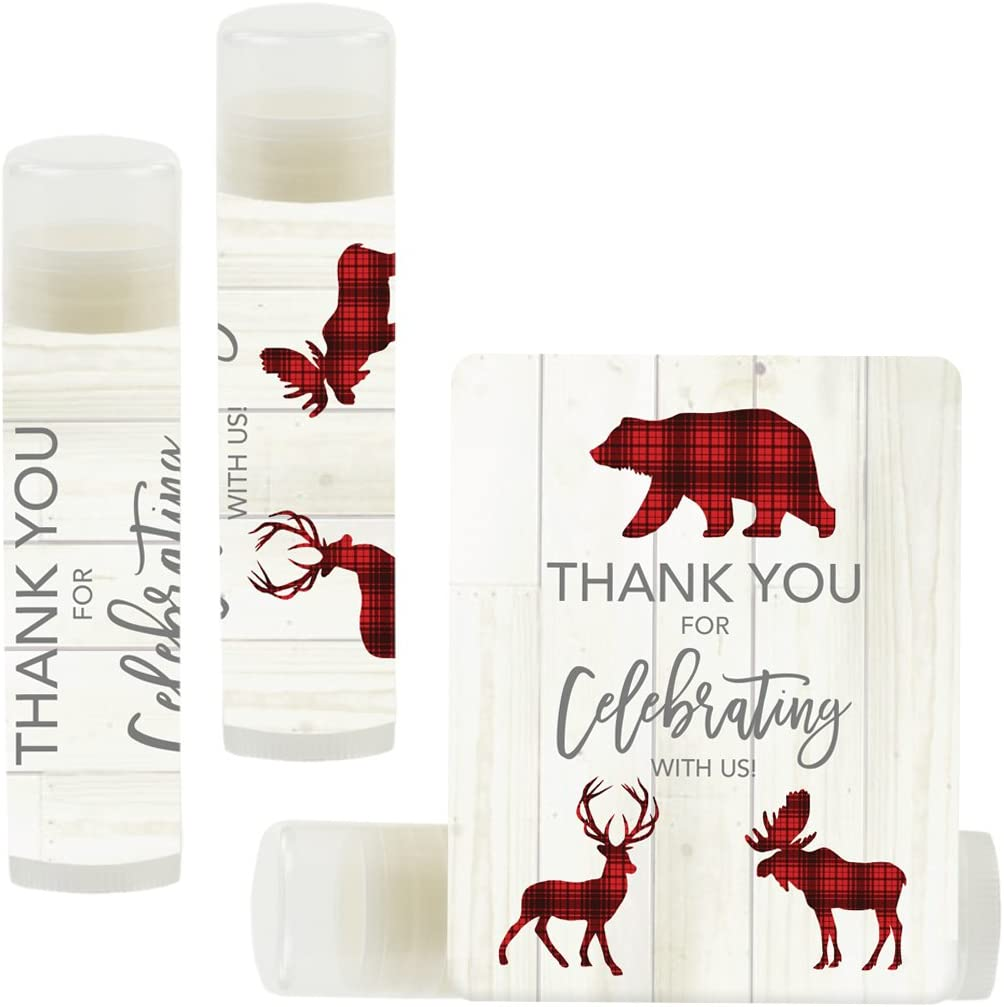 Andaz Press Lip Balm Birthday Party Favors, Thank You for Celebrating with Us, Lumberjack Red Plaid Animals, 12-Pack, Lumberjack Red Plaid Animal Themed Party Decor Gifts for Guests
