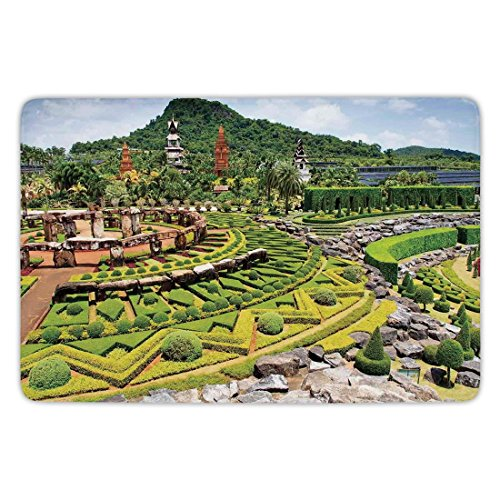 Bathroom Bath Rug Kitchen Floor Mat Carpet,Country Home Decor,Landscaping in the Garden Forest on Hill Stone Benches Pathway Trimmed Bushes,Flannel Microfiber Non-slip Soft Absorbent