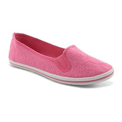 30ae2162187 New Ladies Flat Canvas Plimsolls Plims Pumps Slip On Casual Trainers UK  Size 3-8