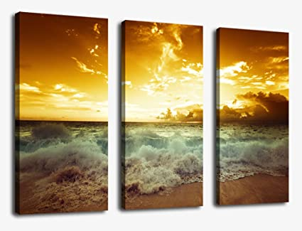 Amazon.com: Sunset Sea Beach Canvas Prints Wall Art Decor Framed ...