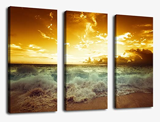 Sunset Sea Beach Canvas Prints Wall Art Decor Framed
