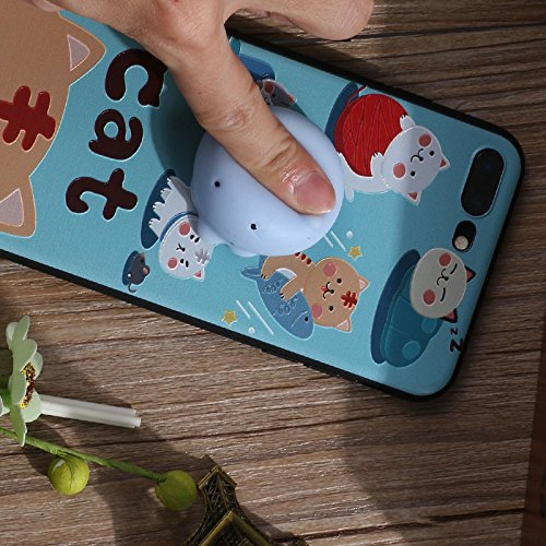 Pinzhi 3D Nice Soft Silicone Pappy Squishy Cat pour iphone 7 plus Housse Octopus Phone Case Style E