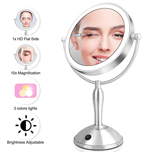 Updated 2019 Version Lighted Makeup Mirror, Dorafair 10X Magnifying Makeup Vanity Mirrors Touch Button Switch Dual Power Supply, Makeup Mirror with Lights and Magnification for Home Tabletop(8 Inch)