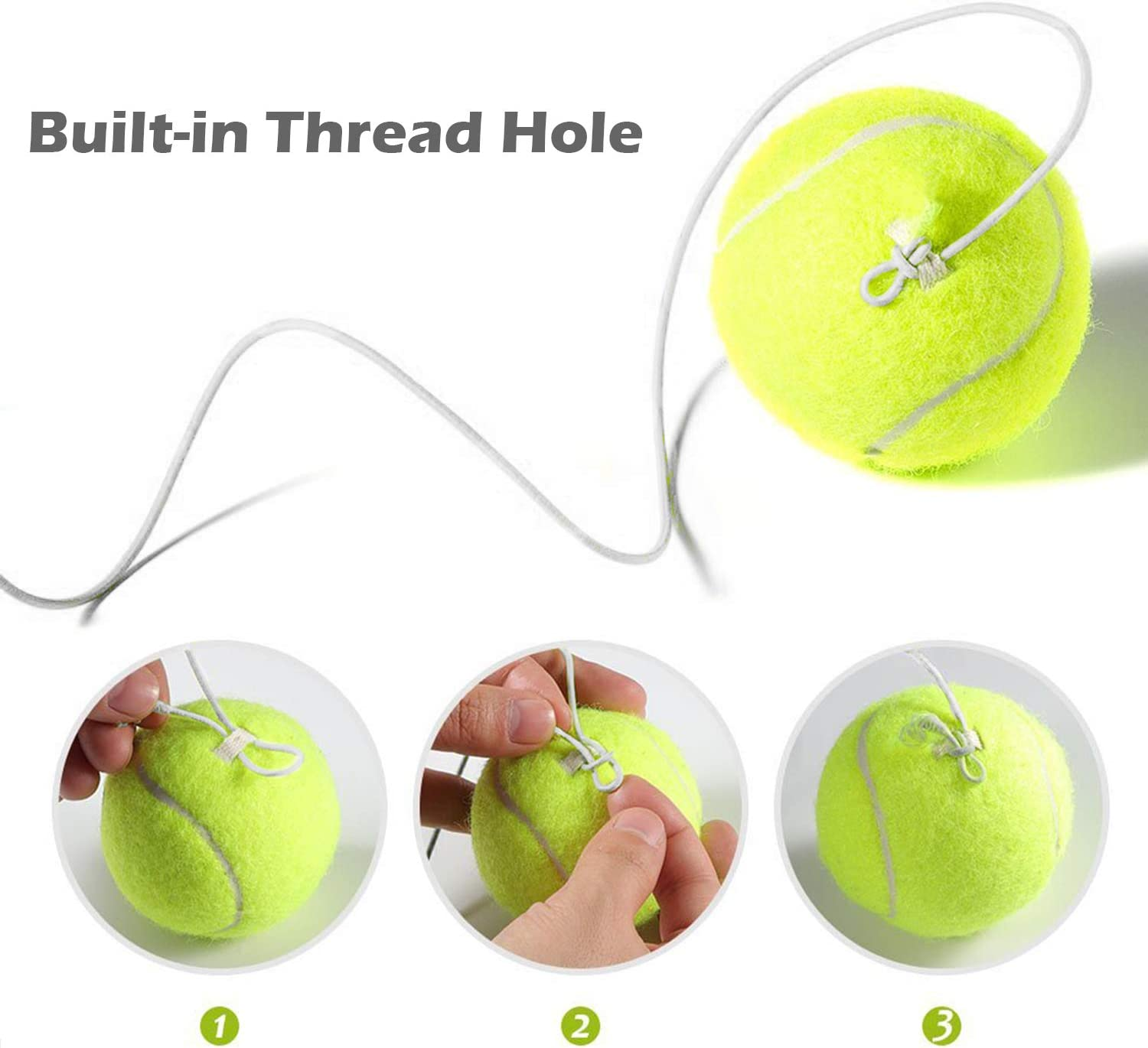 Inte Tennis Trainer Rebounder Ball | Cemented Baseboard with Rope Solo Equipment Practice Training Aid Serve Hopper Base Powerbase Self-Study Rebound Power Base Rebounder Pro Kids Fill & Dril : Pet Supplies