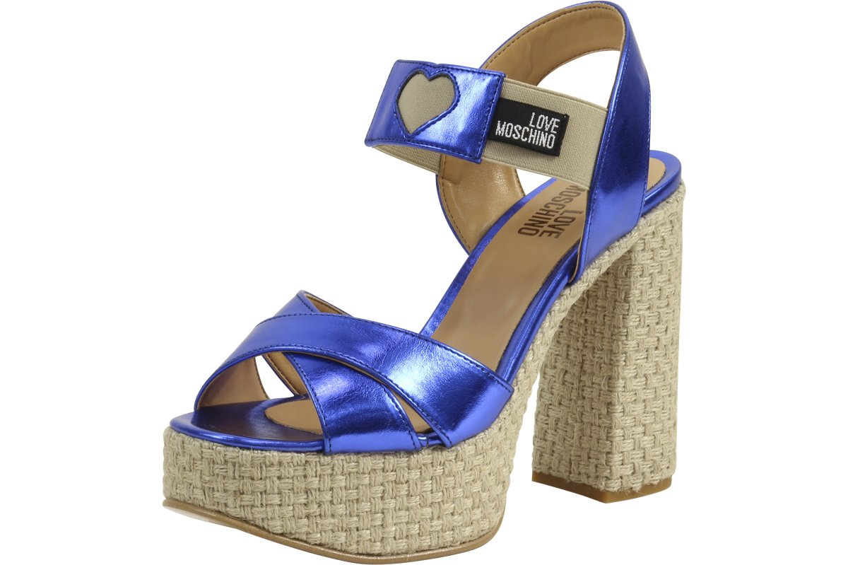 Love Moschino Metallic Heart Blue/Natural Chunky Heels Sandals Shoes Sz: 8