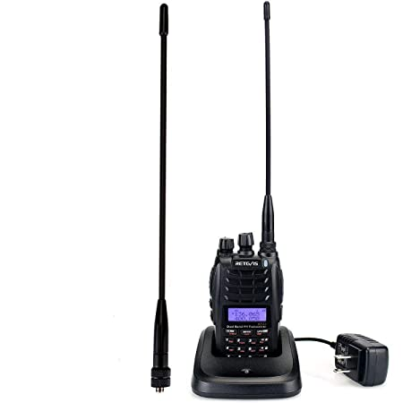 Retevis RT23 2 Way Radio Long Range Dual Band FM Dual PTT Dual Receive walkie talkies with Cross-Band Repeater 128 CH UHF VHF Ham Amateur Radio 1 Pack