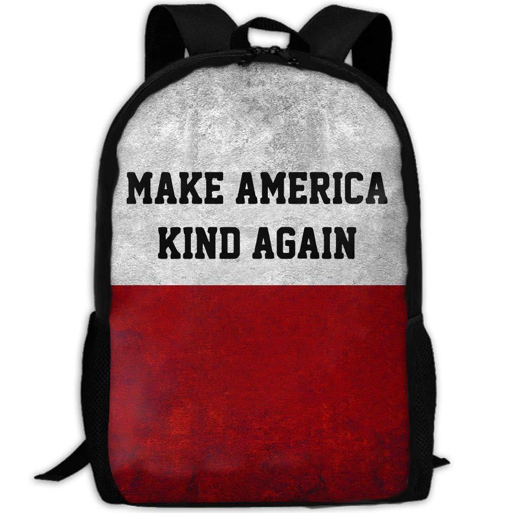 OIlXKV Make America Kind Again Print Custom Casual School Bag Backpack Multipurpose Travel Daypack For Adult