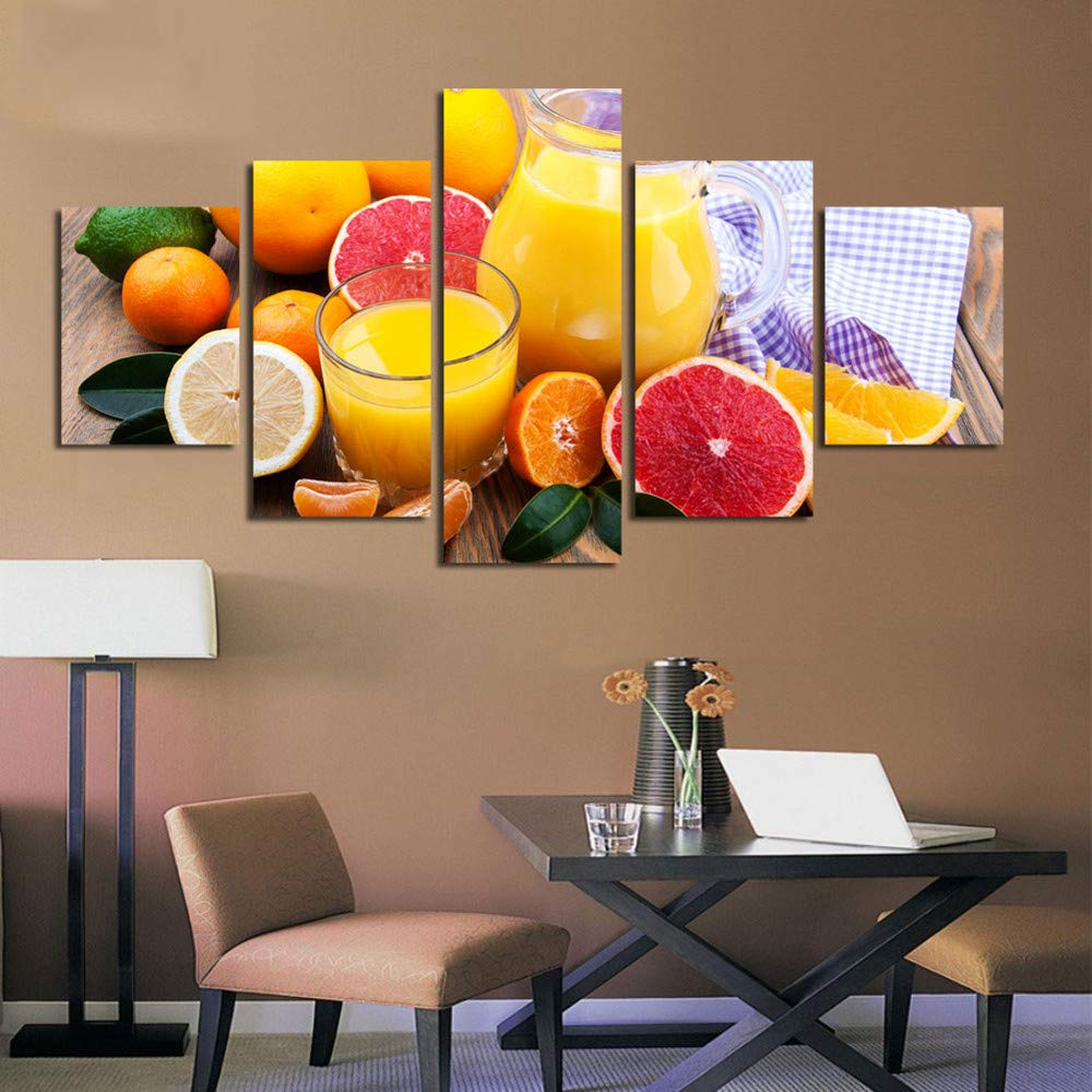 DYDONGWL Imagen Modular HD Imprime Pintura Lienzo Pintura Imprime Jugo de Frutas 5 Piezas Restaurante Moderno Decoración del Hogar Arte de la Pared Art Poster a2686c