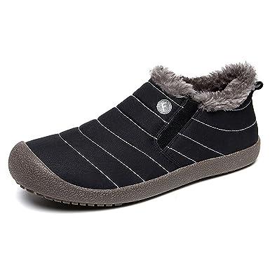 SAGUARO Herren Damen Winterschuhe Warm Gefütterte Boots Stiefelette Outdoor Schneestiefel Winter Schuhe,Low Top Schwarz,40 EU