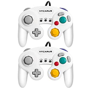 Gamecube Controller, HYCARUS 2 Packs White Game Cube Controller with Turbo and Slow Buttons, Gamecube Controller Switch Edition for Nintendo Gamecube Controller Games (Gamecube Adapter Required)