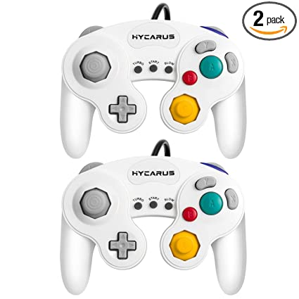 Gamecube Controller, HYCARUS 2 Packs White Game Cube Controller with Turbo  and Slow Buttons, Gamecube Controller Switch Edition for Nintendo Gamecube