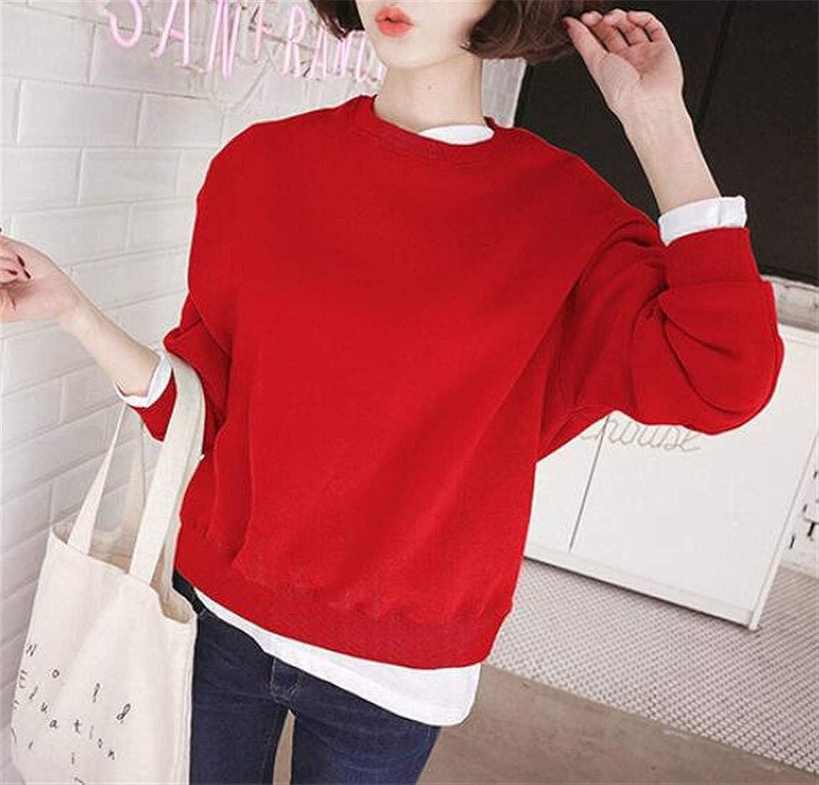 Joe Wenko Womens Pullover Simple Pure Color Loose Round-Neck Coat Sweatshirts