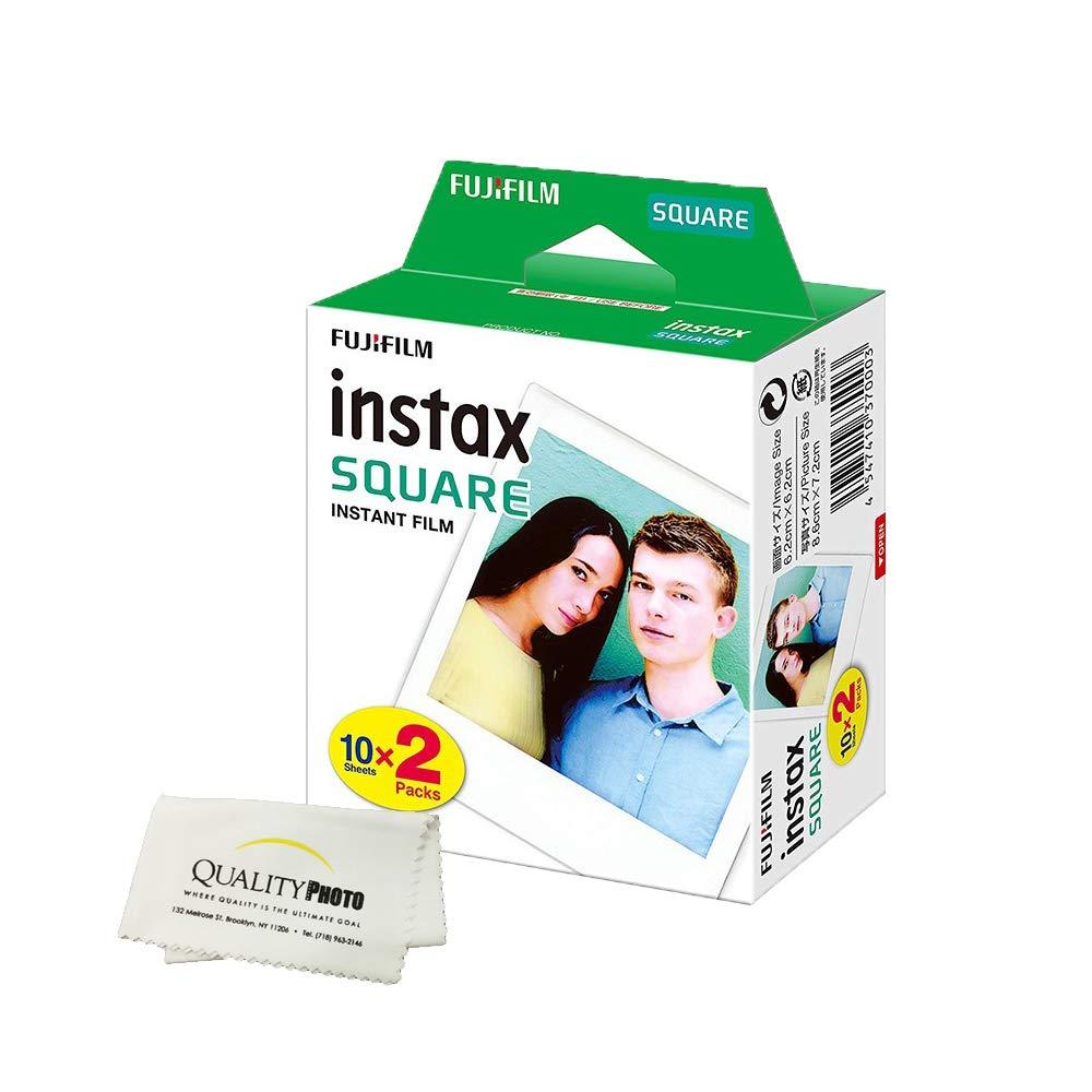 Fujifilm Instax Square Instant Film - 20 Exposures - for use with The Fujifilm instax Square Instant Camera + Quality Photo Microfiber Cloth by Fujifilm
