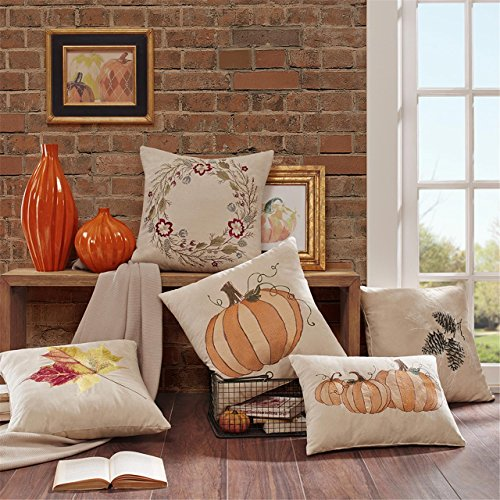 Madison Park Leaf Embroidered Suede Square Pillow, Tan
