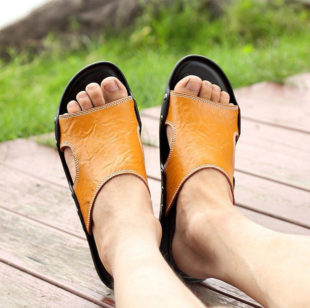 weiwei Mens Flat Bottom Slippers,Summer Beach Slippers
